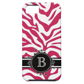 Zebra Print Hot Pink with Girly Monogram Initial iPhone 5 Cover