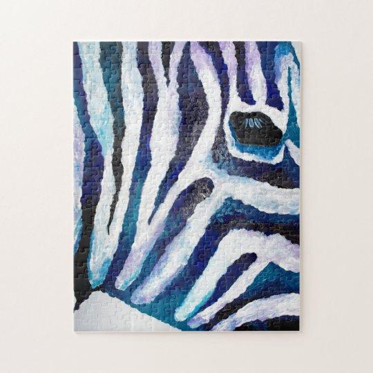 Zebra Print in Purple and Teal (K.Turnbull Art) Jigsaw Puzzle