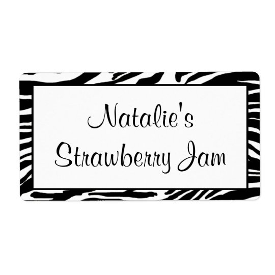 Zebra Print Jar Labels