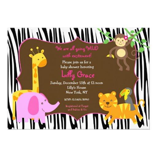 zebra print jungle safari animal baby shower 5 x 7 invitation car