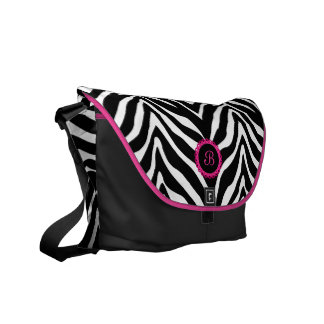 Zebra Print Lace Monogram Rickshaw Messenger Bag