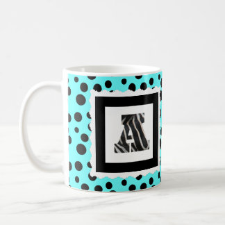 "Zebra Print Letter ""A"" on Aqua/Black Polka Dots Coffee Mug"