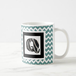 "Zebra Print Letter ""Q"" on Teal/White Chevron Coffee Mug"