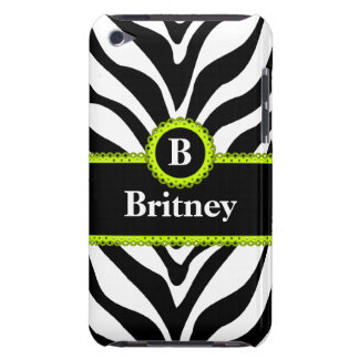 Zebra Print Lime Green Lace Monogram Name Barely There iPod Covers