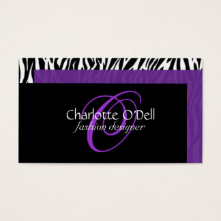 zebra print monogram business card