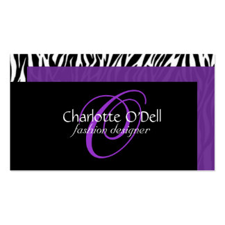 zebra print monogram pack of standard business cards