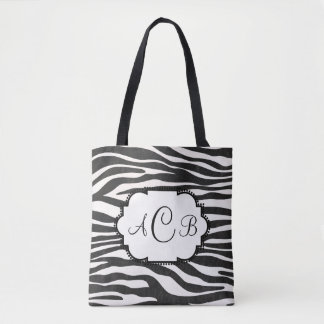 Zebra Print Monogram With Your Own Letters Tote