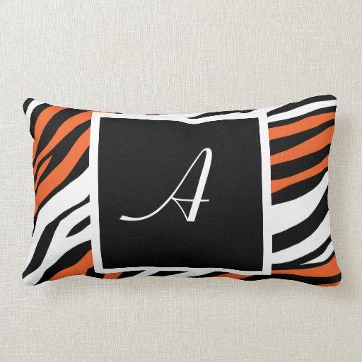 Zebra Print Orange Mix Monogram Lumbar Pillow
