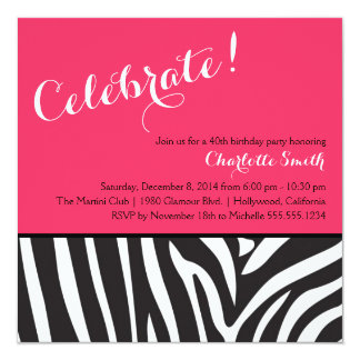 Zebra Print Party Invitation