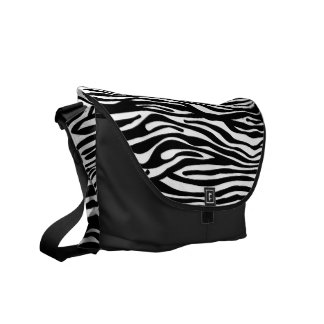 Zebra Print Pattern - Black and White Commuter Bags