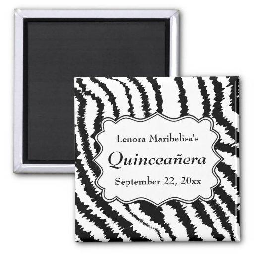 Zebra Print Pattern Quinceanera Refrigerator Magnet