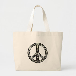 Zebra Print Peace Sign Tote