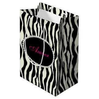 Zebra Print Pearls & Name Monogram Medium Gift Bag
