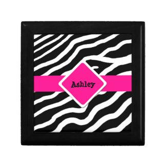Zebra Print Personalized Jewelry Keepsake Box