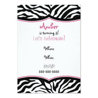 "Zebra Print Photo Ready Bday 5"" X 7"" Invitation Card"