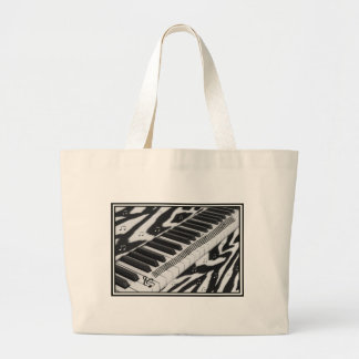 Zebra Print Piano Keyboard Large Tote Bag