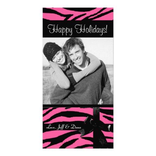 Zebra print pink christmas photocard photo card template