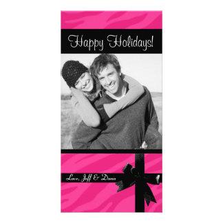 Zebra print pink christmas photocard personalized photo card