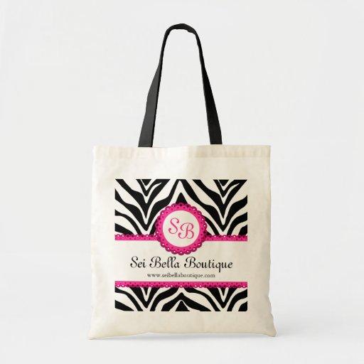 Zebra Print & Pink Lace Monogram / Initials Tote Canvas Bag