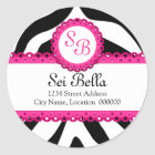 Zebra Print & Pink Lace Monogram Stickers