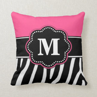 Zebra Print Pink Monogram Pillow