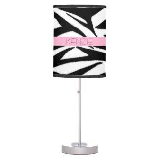 Zebra Print + Pink Personalized Lamp