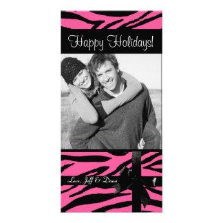 Zebra print pink photocard photo greeting card