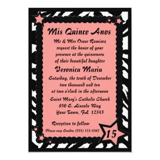 Zebra Print Pink Stars Quincenera Birthday & Photo Card