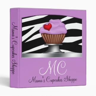 Zebra Print Purple Cupcake Pedestal Binder
