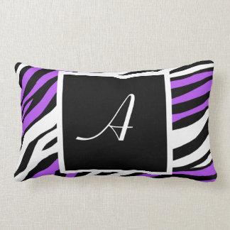 Zebra Print Purple Mix Monogram Lumbar Pillow