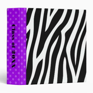 Zebra Print Purple Polka Dot School Binders