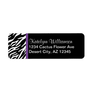 Zebra Print & Purple Return Address Labels
