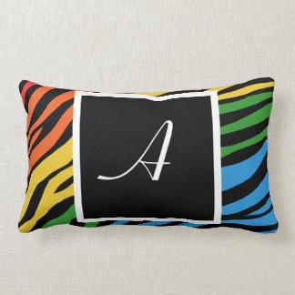 Zebra Print Rainbow Mix Monogram Lumbar Pillow