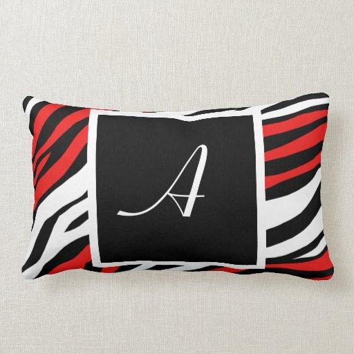 Zebra Print Red Mix Monogram Lumbar Pillow