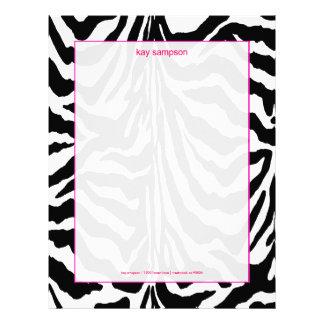 Zebra print, retro colors fuschia accent letterhead