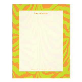 Zebra print, retro colors lime green + orange letterhead
