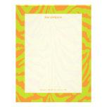 Zebra print, retro colours lime green + orange letterhead