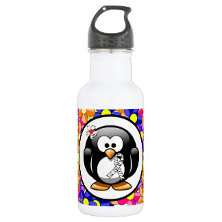 Zebra Print Ribbon Penguin 532 Ml Water Bottle
