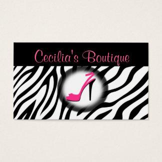 Zebra Print Shoe Boutique Business Card Pink