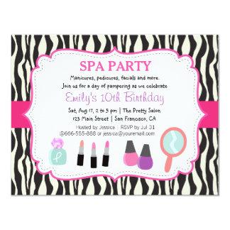 Zebra Print Spa Birthday Party Invitation