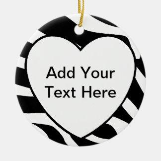 Zebra Print Stripes White Heart Ceramic Ornament