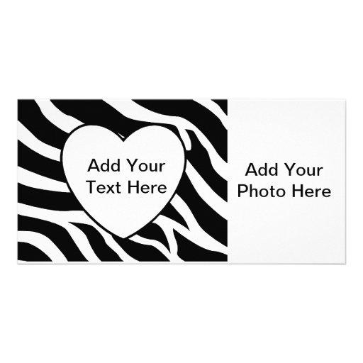 Zebra Print Stripes White Heart Photo Greeting Card