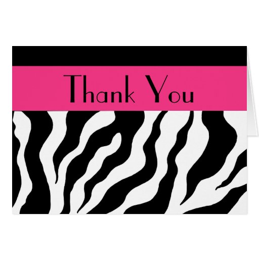 Zebra Print Thank You Card