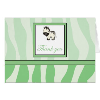 Zebra Print Thank You - Green Card