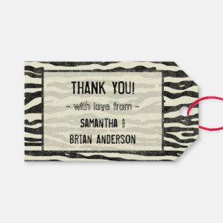 Zebra Print Thank You Wedding Party Elegant Stripe Gift Tags
