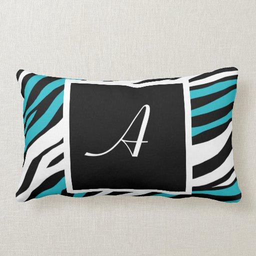 Zebra Print Turquoise Monogram Lumbar Pillow