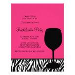 zebra print wine bachelorette custom announcement