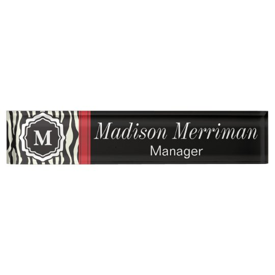 Zebra Print with a Red Bar | DIY Monogram & Text Name Plate