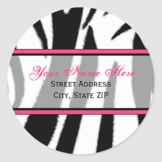 Zebra Print with Pink Address Labels Round Sticker