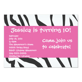 Zebra Print With Pink Birthday Invitation